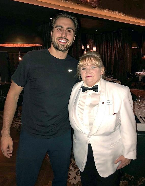 Vegas Golden Knights player Alex Tuch wit Andiamo server Sandy in Las Vegas