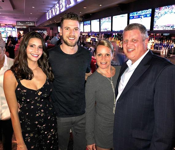 Vegas Golden Knights player Shea Theodore with girlfriend Mariana Alston, the D Owner Derek Stevens and wife Nicole at Longbar in the D Casino Hotel