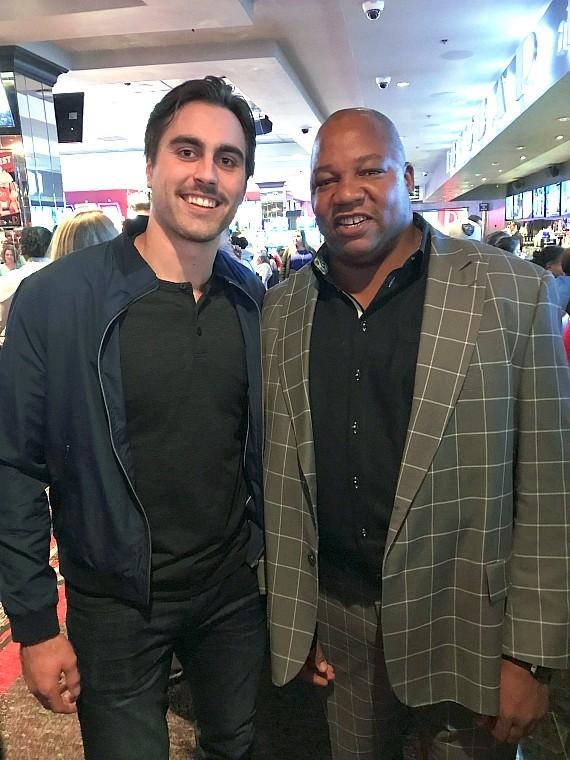 Vegas Golden Knights player Alex Tuch with Former NHL player Darren Banks at LONGBAR inside the D Casino Hotel in Las Vegas