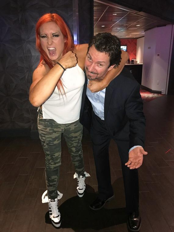WWE star Becky Lynch with the D Casino Hotel Executive Richard Wilk