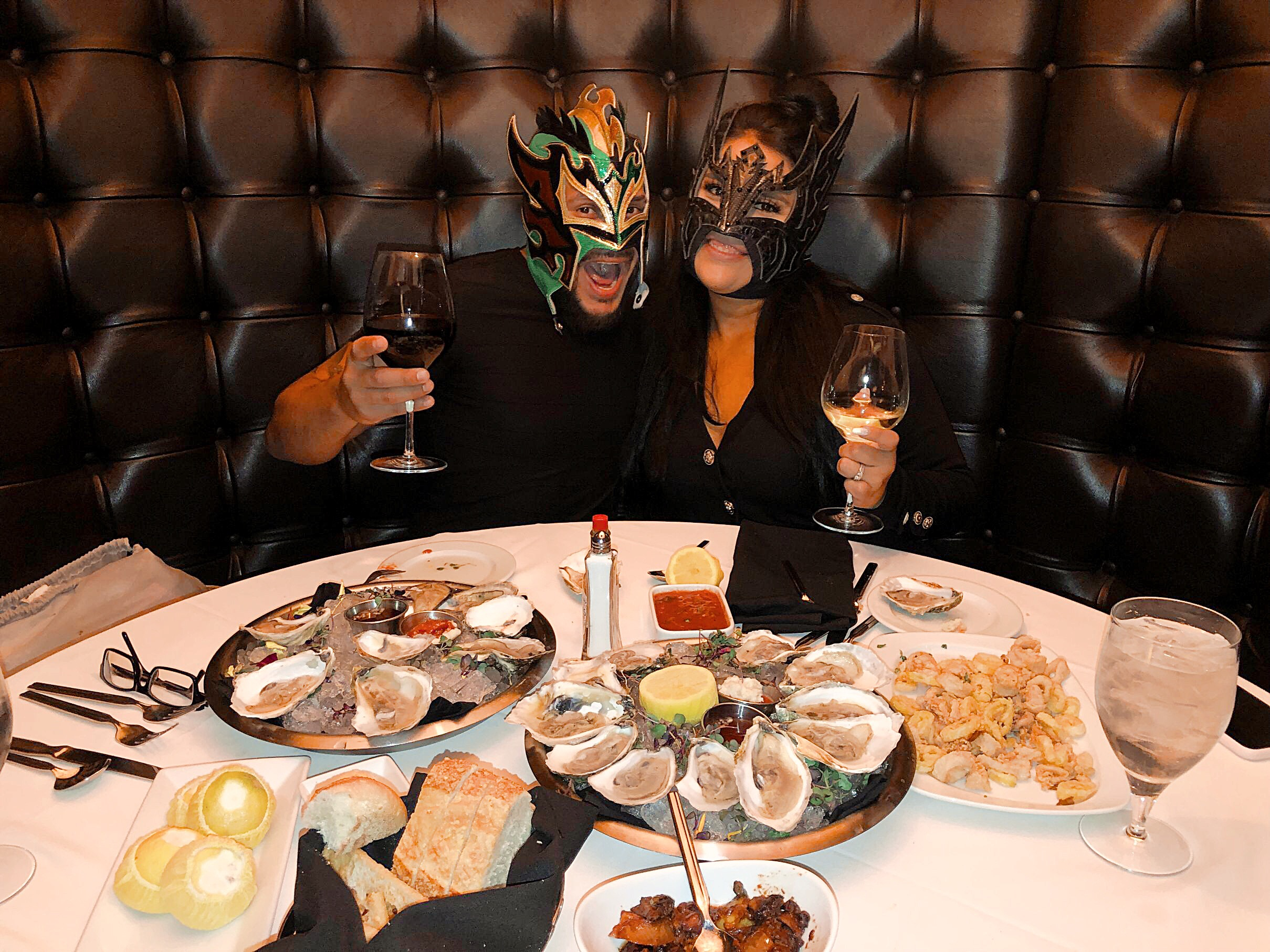 WWE Kalisto and wife Lady Lucha at Andiamo Italian Steakhouse inside the D Casino Hotel Las Vegas
