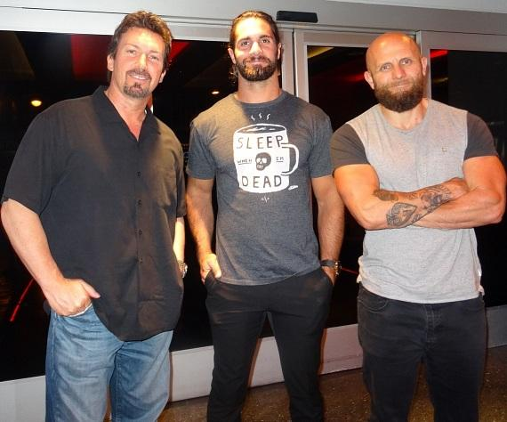 WWE wrestler Seth Rollins (center) posed for a photo with his friends CrossFit Games MC,  Josh Gallegos (right), and D Executive Richard Wilk (left)